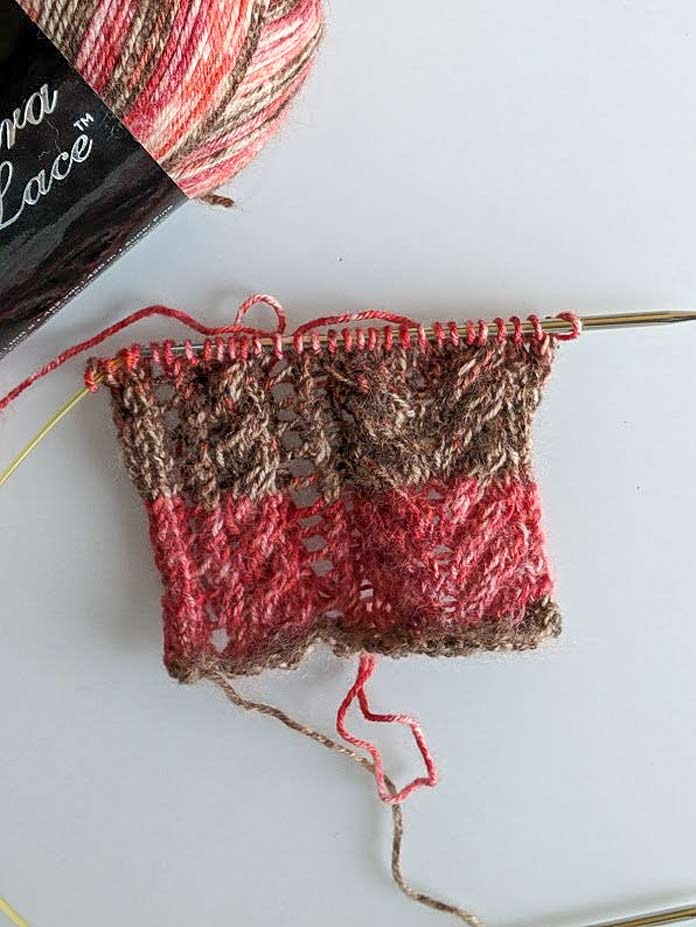 Syrah Cowl, swatching for gauge and casting on