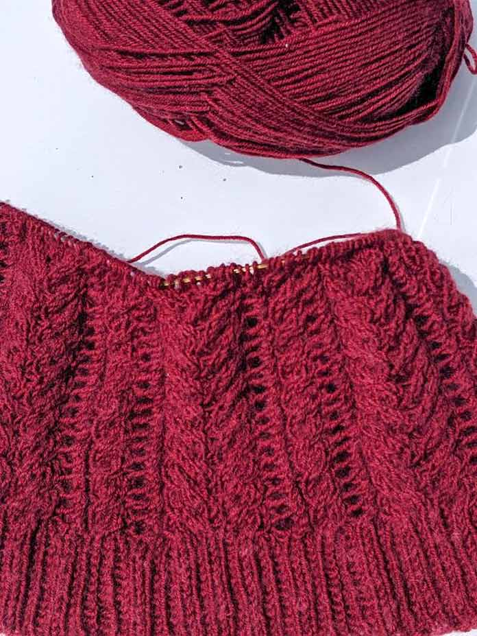 Why working the cables on the Syrah Cowl in Angora Lace is so yummy!