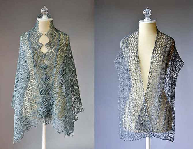 Knitted Lace patterns: Whimsical Wrap (left) and Starry Road Scarf (right)