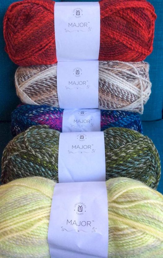 Five of Major's 35 colorways. From top to bottom, Crimson, Stonewall, Firecracker, Verdant and Honeydew.