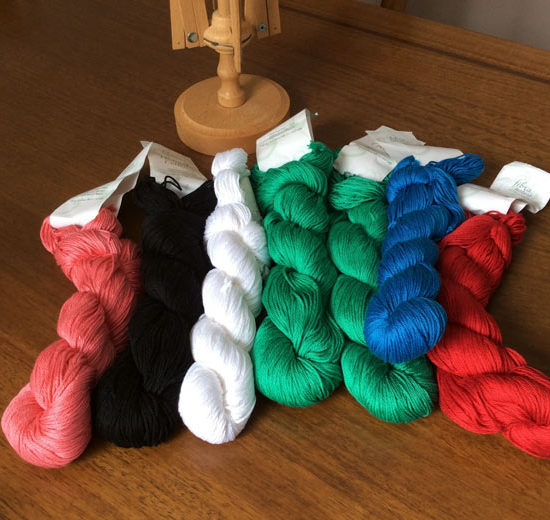 I'll only be working with the 3 skeins on the left this week. The green, blue, and red will be featured in an upcoming issue of A Needle Pulling Thread.