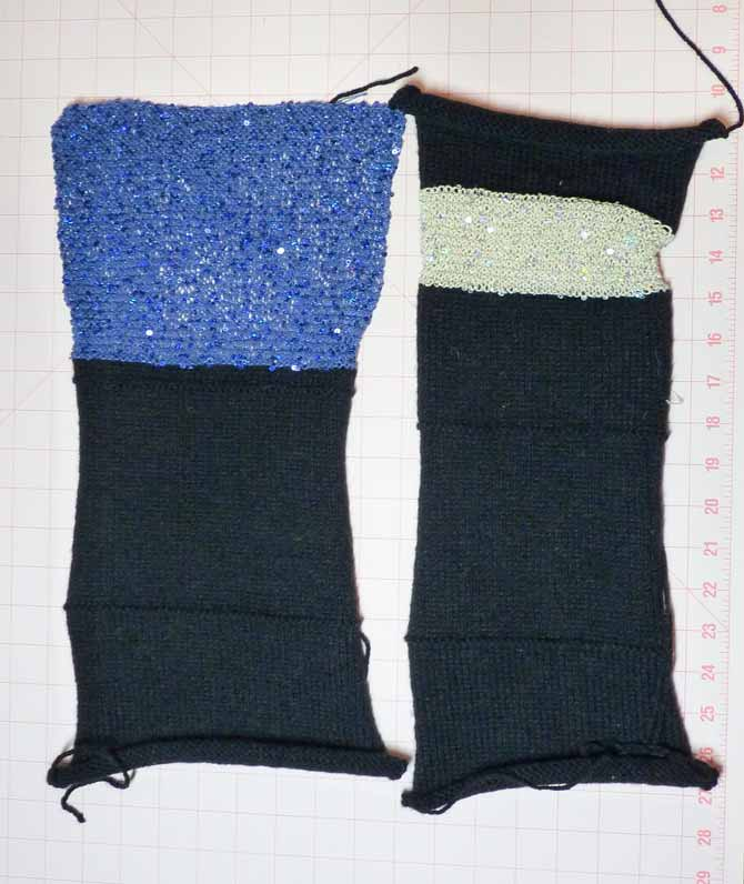 "Two strips of knitting, both black at the bottom. The bag on the left has blue on the top third, and the bag on the right has a 2½"" strip of off white topped with another strip of black."
