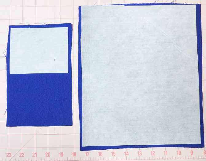 A pocket piece on the left with a piece of interfacing over the top half, and the purse lining on the right with the interfacing in position to bond.