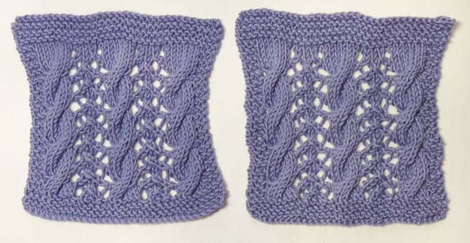 Two identical knitted samples, but the one on the left has edges that curve inwards down each side. The sample on the right has edges that are much less curved.