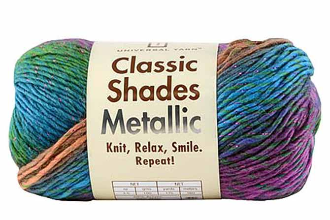 A skein of Classic Shades Metallic yarn in the Tahitian colorway