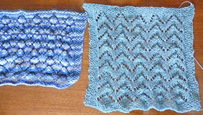 A sample made of variegated sock yarn (left), and of Flax Lace (right). The sock yarn sample is much more compact, both vertically and horizontally.