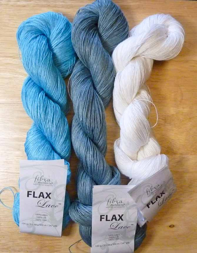 Flax Lace yarn in turquoise, mineral, and white