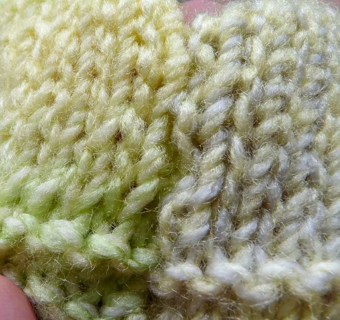 If it weren't for the difference in the colors of the yarn between the pieces, this seam would be nearly undetectable.