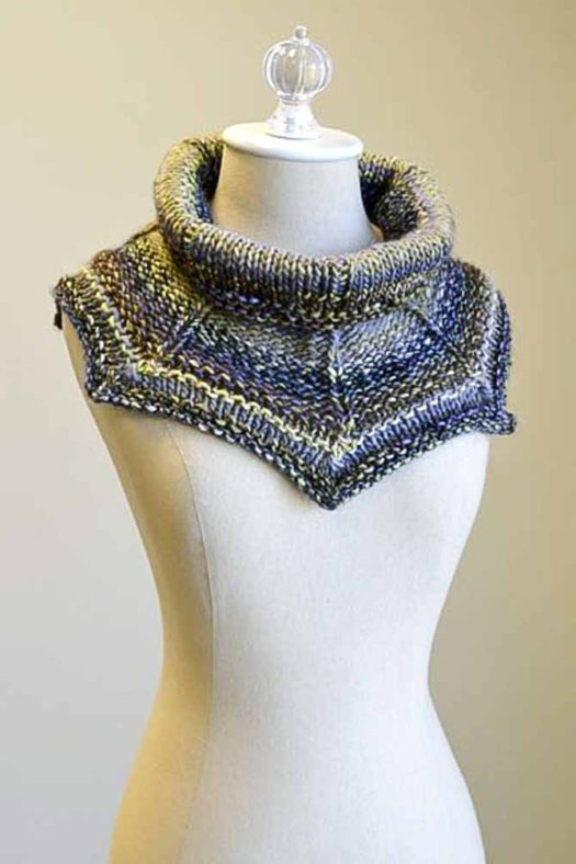 "Picture of Get the point cowl which features picot-like points in a gray, blue and yellow colorway called ""urban transit"""