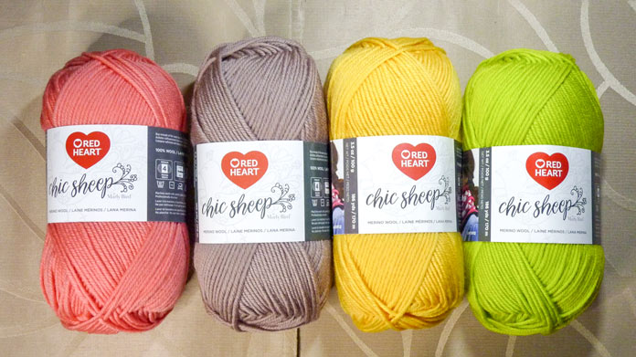 Chic Sheep comes in 24 colors. Shown here are Mai Tai, Suede, Mimosa, and Green Tea.