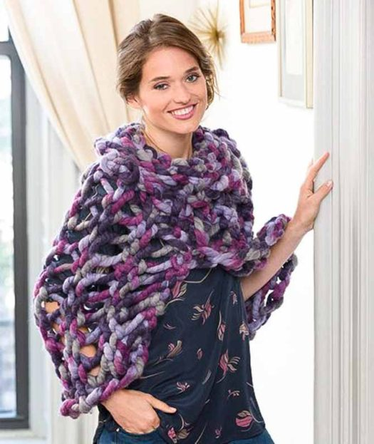 Quick to Warm Poncho knit up in Red Heart's Irresistible yarn in Enchanted colorway