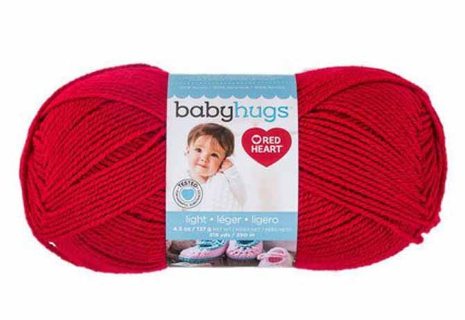 Red Heart'sBaby Hugs yarn in Ladybug colorway