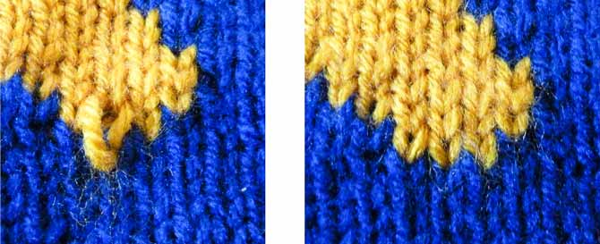 "The photo on the left shows the excess drawn to the middle stitch after the excess yarn has been pulled in. This excess will be taken to the stitch to the left and ""tamed"" into place. The result is the three even stitches shown in the right photo."