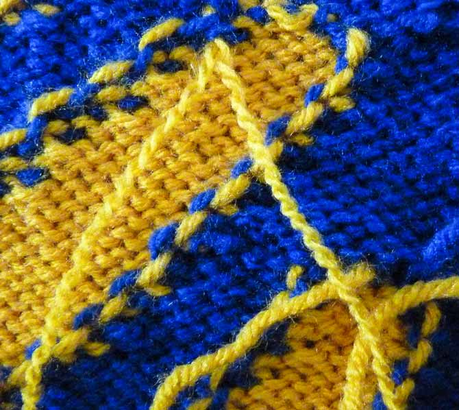 The strand of gold yarn has been divided into two strands with two plies in each.