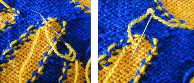 The sewn yarn is following the path of the knitted stitches.