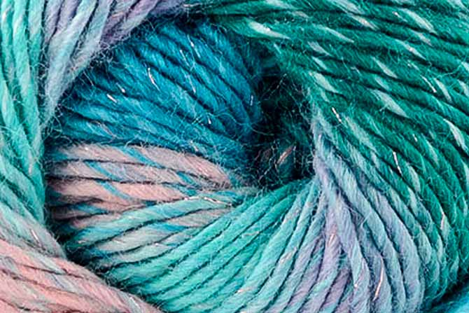 Close-up of skein of Universal Shades Metallic in the umbrella colorway