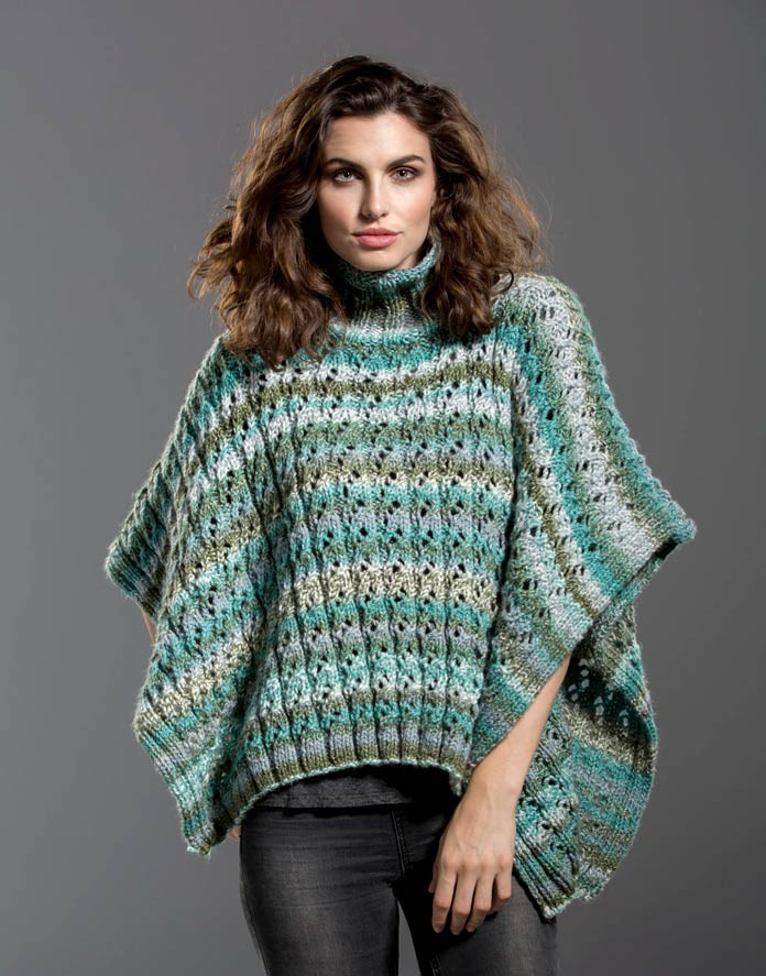 "The cool teals, greens, and grays make this poncho as lovely as a warm and lush oasis to chase away the winter blahs. If these hues aren't in your ""crayon box,"" use your favorites!"