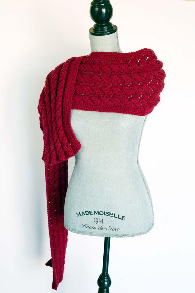 The Starlight Reversible Scarf in Aran weight yarn.