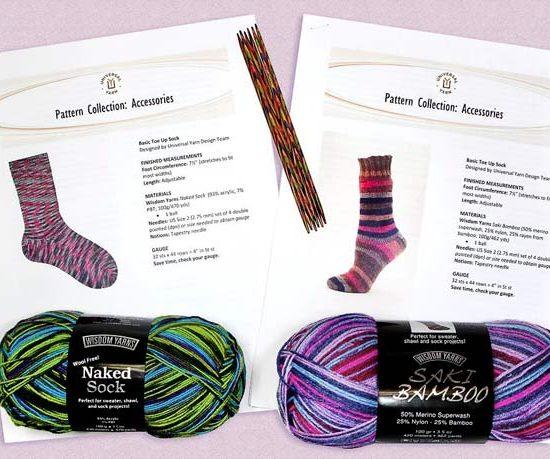 Naked Sock and Saki Bamboo yarn, plus Rainbow Wood knitting needles!