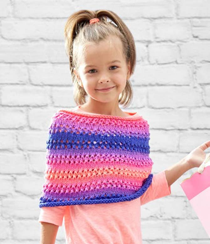 Looking for an easy lace project? Try Red Heart's free pattern for the Cozy Kiddo Poncho in their new self striping Super Saver yarn!