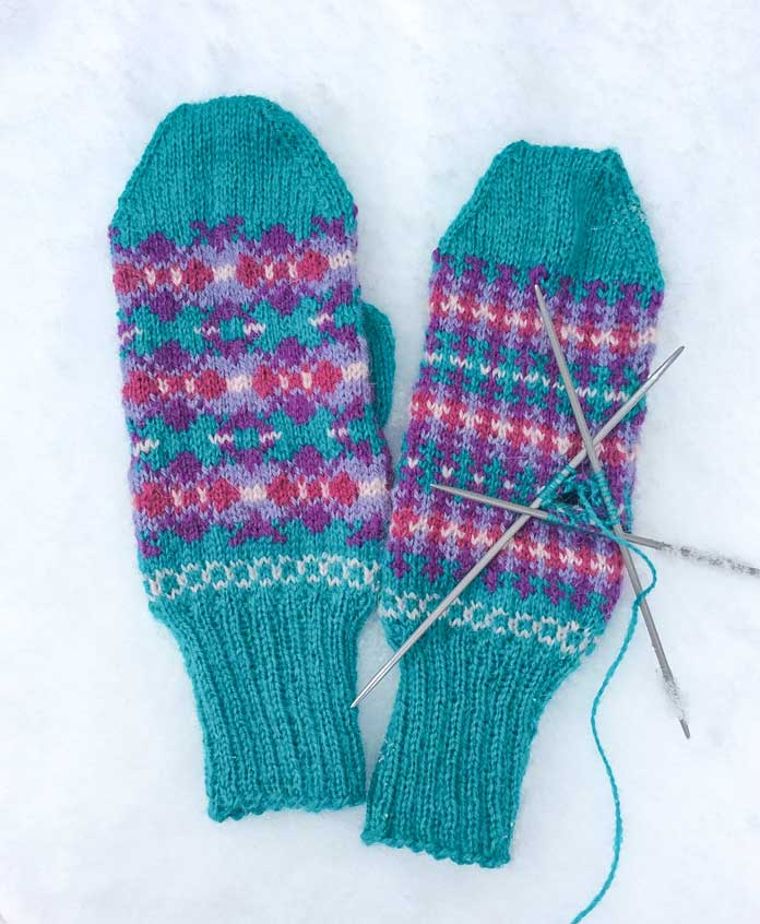 Almost done! As soon as I finish the thumb on the right mitten, I'll be ready for the snow beneath this handsome pair!