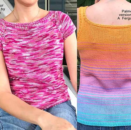 Two summer tops that knitters have worked up with Bamboo Pop yarn: Rondeur and Palmer