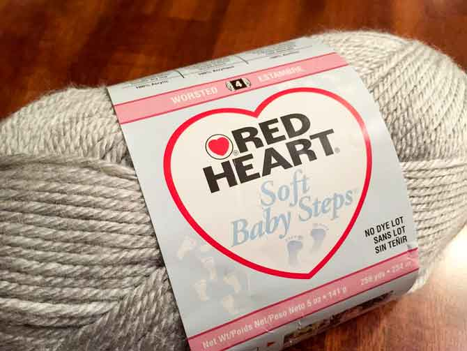 Red Heart's Soft Baby Steps yarn in the color Elephant