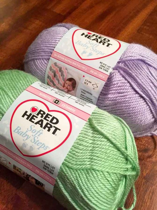 I have always loved these colors together! Soft Baby Steps in Lavender and Baby Green