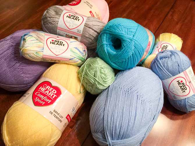 All baby yarns in lovely pastel colors!