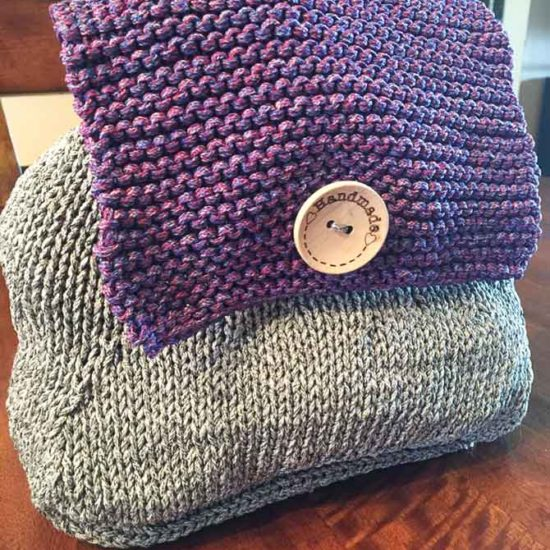 The knitted market backpack using Red Heart's Cordial is easy to use and stylish too!