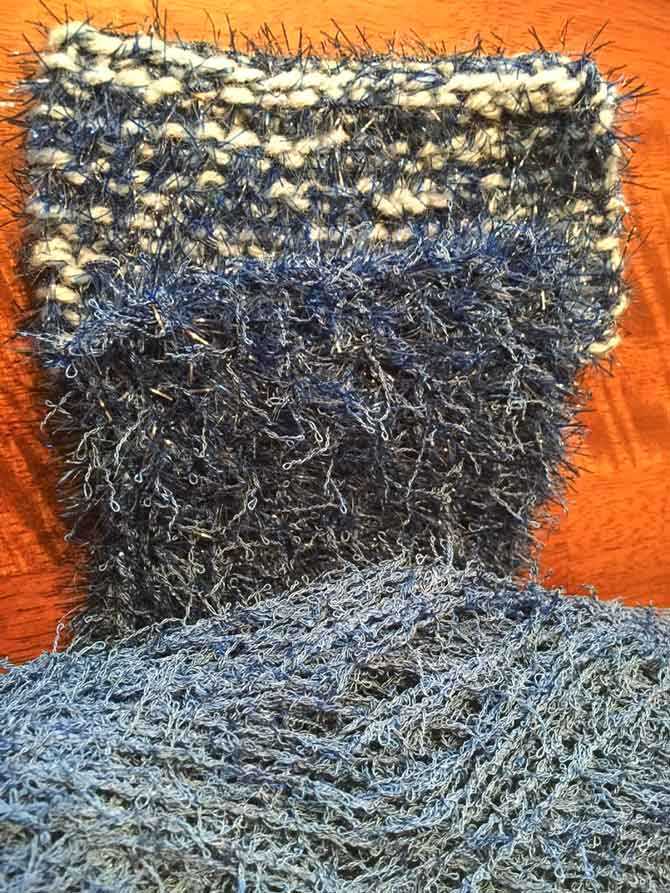 You can see how the mix of Scrubby Yarns really change the color and texture of your scrubbies when they're knit up!