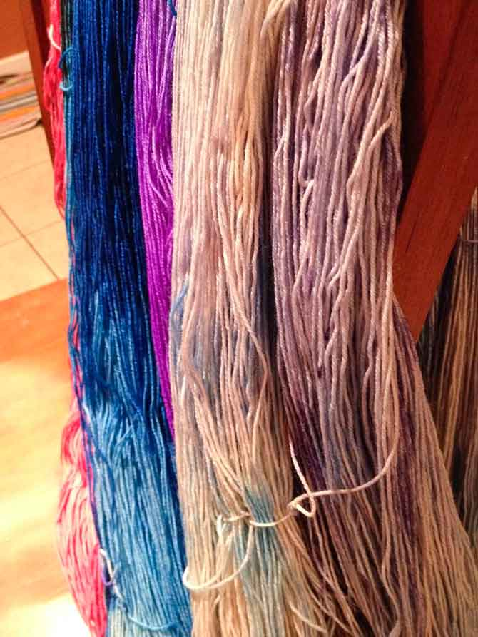 Some color variations within the same skeins of yarn; tonal colors.