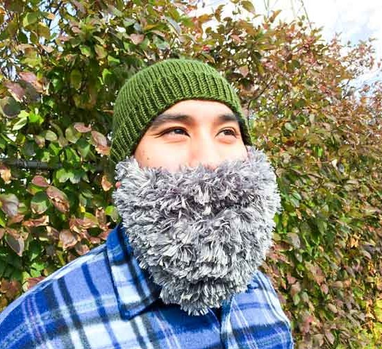 A knitted hat with a beard is a perfect addition to a Halloween costume. Be a lumberjack? An elf?