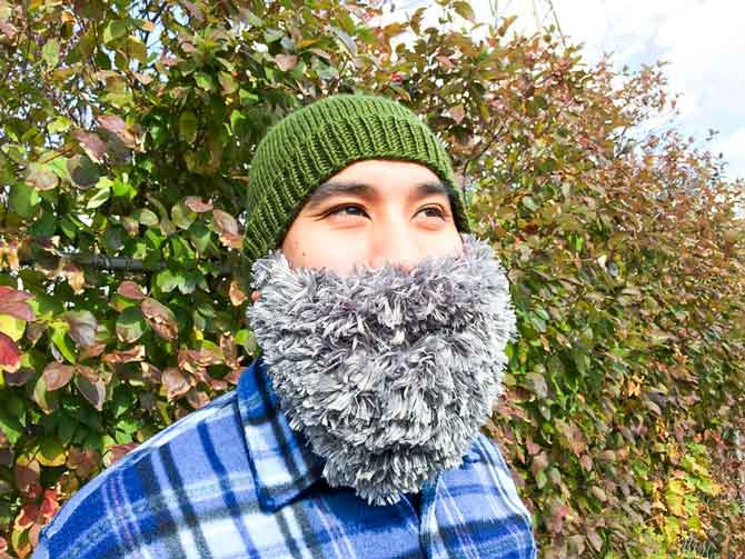 A Knitted Hat With A Beard
