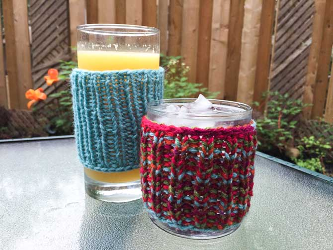 Hand Knit Drink Cozy with Red Heart With Love in Iced Aqua and Fruit Punch