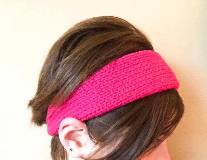 Red Heart With Love Hand Knit Headband in Hot Pink