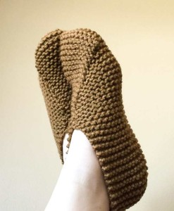 Slippers with Red Heart's With Love yarn in the color Caramel
