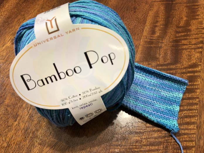 Bamboo Pop with a stockinette stitch swatch in the color Fairy Tale