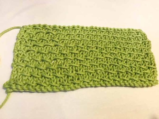 Try out a new stitch! This one is called the Bamboo stitch. The yarn is Creme de la Creme by Red Heart.