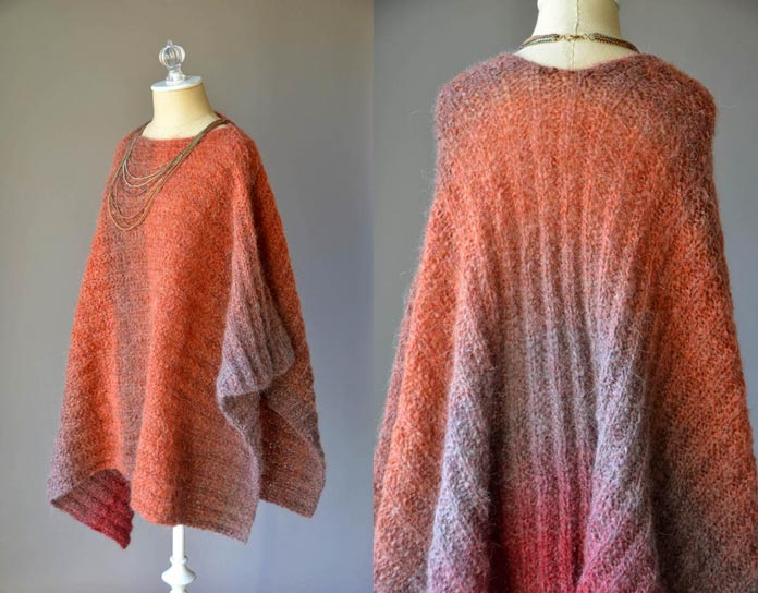 The raised ribbing stitch pattern of this poncho ensures that the texture will still stand out from the halo of the yarn.