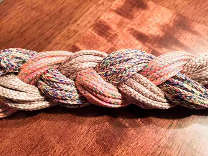 Knitting with braided cord.