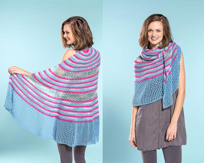 "This cheery shawl will demand attention when knit in any of the almost infinite combinations of solids, ""dots"" speckled yarn, and variegated colorways of Bamboo Pop."