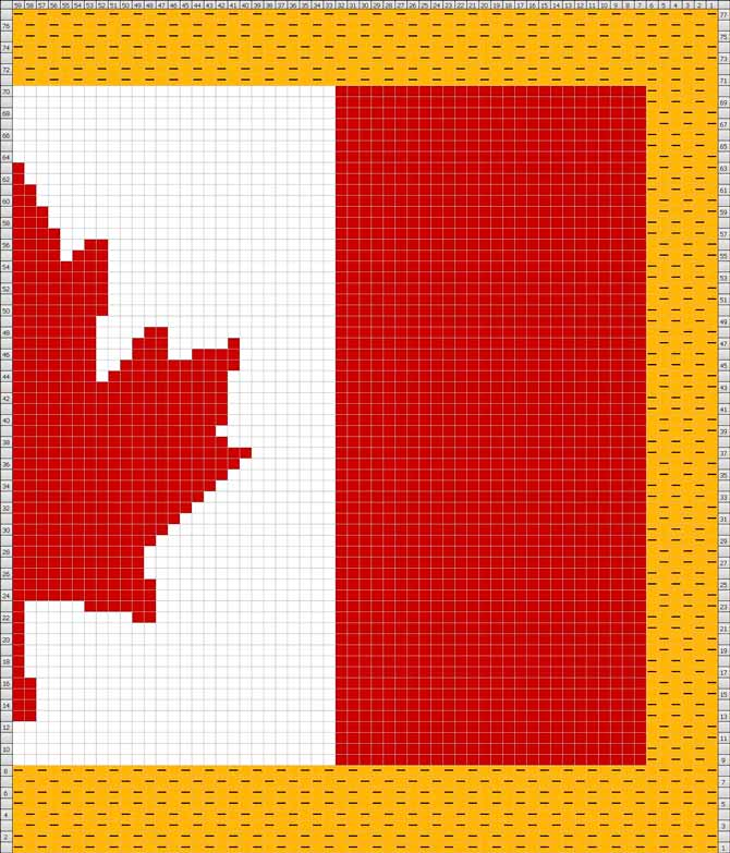 This is the Canadian flag chart reproduced in a knitting charting program exactly as it was in the original graph.