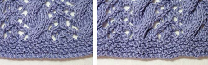"Close up photos of two cast ons - the cable cast on on the left, and the long tail on the right. The cable cast on shows a ""ropey"" edge and an indentation above it before the garter stitch begins. The long tail cast on on the right shows a garter stitch ridge at the cast on, carrying the garter stitch right to the edge of the fabric."