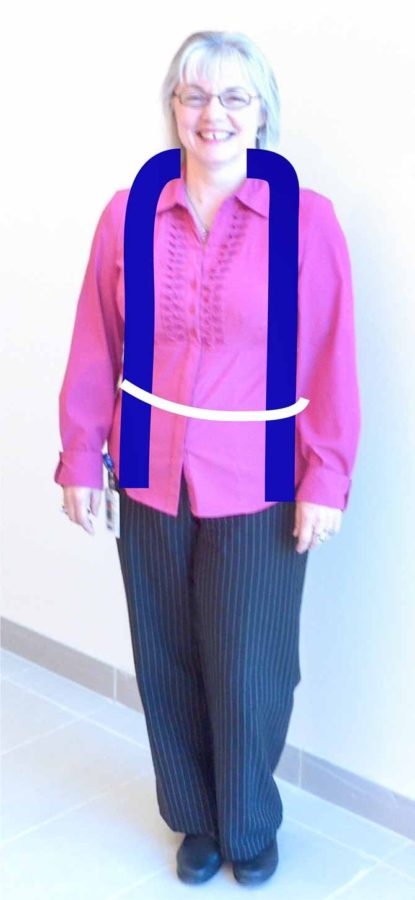 A woman in dark slacks and a magenta shirt against a white background. Two blue lines curve down each side of the neck to the sleeve cuffs, indicating the length of a more casual stole.