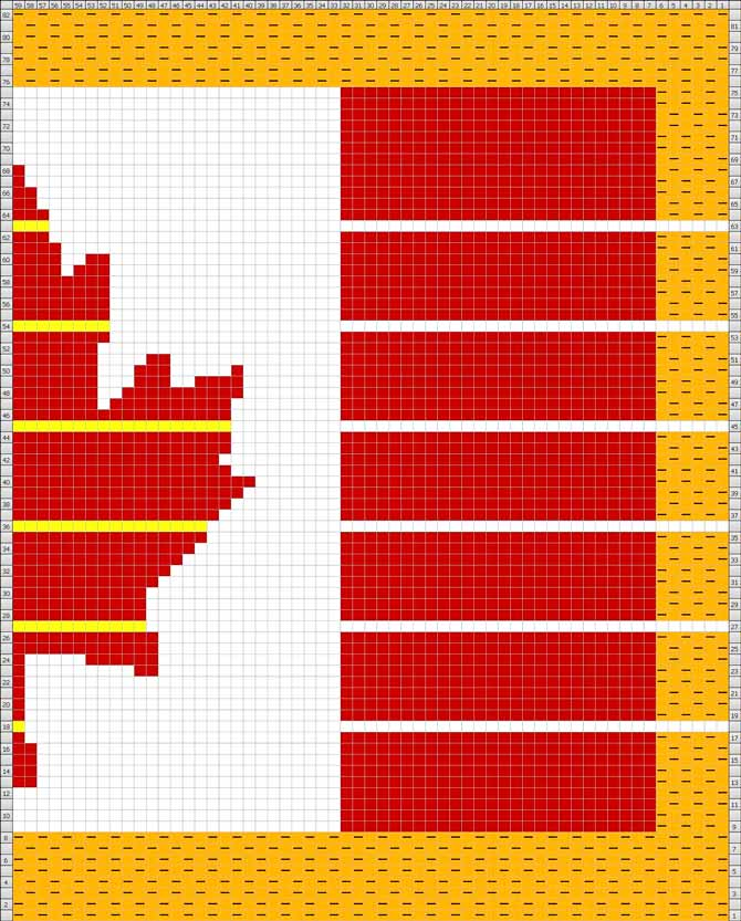 Using the math above, the yellow lines in the maple leaf (and the white lines in the red and gold sections) show where rows will be added for the next knit.