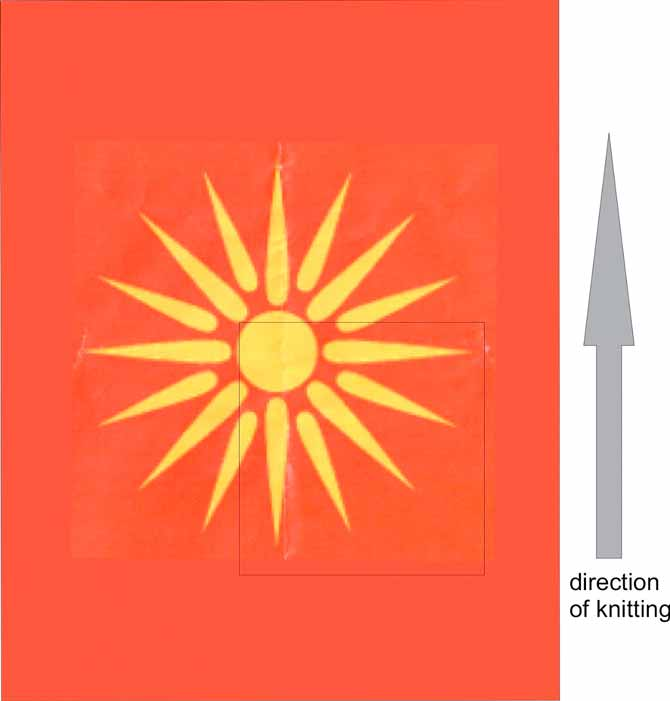 The old Macedonian flag, featuring the vergina sun. The black line indicates the area to be used for charting, and the grey arrow on the right indicates the direction of knitting.