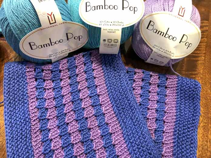 The Clematis Cowl knit in Bamboo Pop