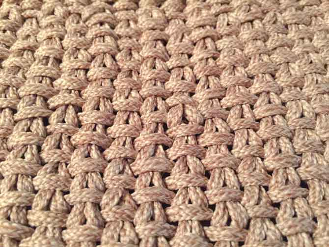 A closeup of the linen stitch