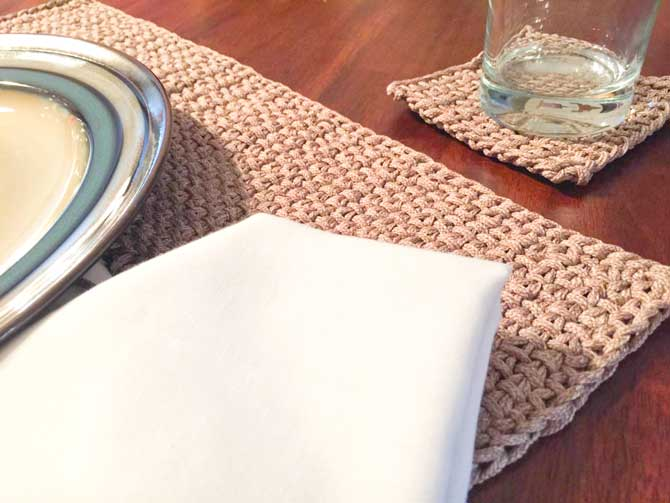 Elegant linen stitch used for placemat and coaster.